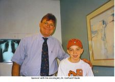 Spencer with his oncologist, Dr. Gergard Maale