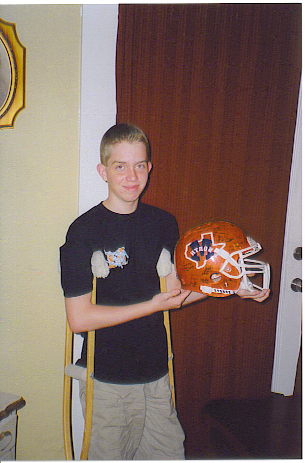 Spencer with the helmet