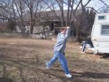Zach throwing the Tomahawk